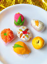 Colorful fruit shaped sweets Stock Images