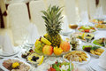 Colorful fruits decorated festive table Royalty Free Stock Images