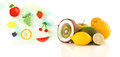 Colorful fruits with hand drawn illustrated fruits on white background Royalty Free Stock Photos