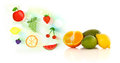 Colorful fruits with hand drawn illustrated fruits on white background Stock Photos