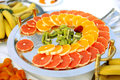Colorful fruits metal tray table Royalty Free Stock Image