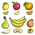 Colorful fruits set of hand drawn bright vector illustration eps Stock Photos