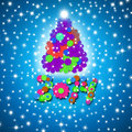 Colorful and fun christmas card year tree children made flowers on blue background with stars Stock Photos