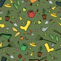 Colorful funny cartoon garden seamless pattern, on a green backg Royalty Free Stock Photo