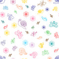 Colorful Funny Doodle Insects. Children Drawings of Cute Bugs, Butterflies, Ants and Snails. Sketch Style.