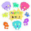 Colorful funny monsters stickers set isolated