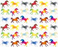 Colorful galloping horses on white a seamless pattern Stock Image