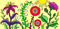Colorful garden flowers on bright summer background vector illustration.