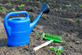 Colorful garden tools, a blue plastic watering can and rake.