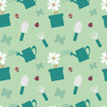 Colorful gardening tools cute seamless pattern background illustration