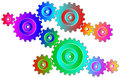 Colorful gear wheels isolated vector on white background Royalty Free Stock Image