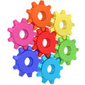 Colorful gear wheels isolated on white Royalty Free Stock Photo