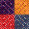 Colorful geometric seamless pattern set with dotted rhombus structure vector background Royalty Free Stock Image