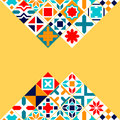 Colorful geometric tiles background, vector Royalty Free Stock Photo