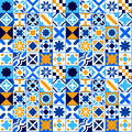 Colorful geometric tiles seamless pattern in blue orange and white, vector Royalty Free Stock Photo
