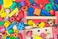 Colorful geometric wood toy Stock Images