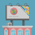 Colorful giant advertisement billboard on roof house. Flat style vector illustration template.