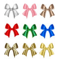 Colorful gift bows big set of and labels Royalty Free Stock Photography