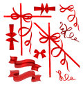 Colorful gift bows big set of red and labels Royalty Free Stock Images