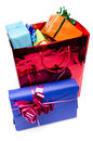 Colorful gift boxes in a bag isolated on white Royalty Free Stock Photography