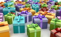 Colorful gift boxes on the floor Stock Photo