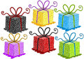 Colorful gift boxes set of doted with bows Royalty Free Stock Photos