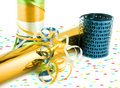 Colorful gift wrapping and ribbons Stock Images
