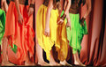 Colorful girls waved skirt Royalty Free Stock Photos