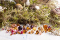 Colorful glass beads with moss Stock Image
