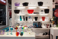 Colorful glasses and bowls at host in milan italy october international exhibition of the hospitality industry on october Stock Image