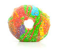 A colorful glazed donut with speckles Royalty Free Stock Photo