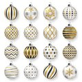 Colorful glossy christmas balls with shadows. Set of realistic decorations.