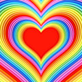 Colorful glossy heart shape with red center high resolution d image Royalty Free Stock Photography