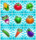 Colorful Glossy Vegetable Icons Royalty Free Stock Photos