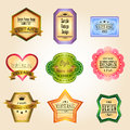Colorful glossy vintage and retro badges design wi with sample text create by vector Stock Photos