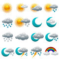 Colorful Glossy Weather Icons. Royalty Free Stock Photo