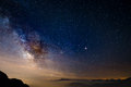 The colorful glowing core of the Milky Way and the starry sky captured at high altitude in summertime on the Italian Alps, Torino Royalty Free Stock Photo