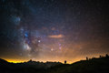 The colorful glowing core of the Milky Way and the starry sky captured at high altitude in summertime on the Italian Alps, Torino