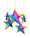 Colorful gradient stars d render isolated on white and clipping path Stock Images