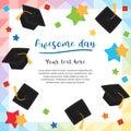 Colorful graduation day card illustration design Royalty Free Stock Photo