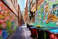 Colorful graffiti on brick walls in an alley in melbourne austr australia Stock Image
