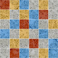 Colorful granite mosaic square tile grunge texture seamless pattern, vector Royalty Free Stock Photo