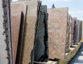 Colorful granite slabs for sale in store show room Royalty Free Stock Image