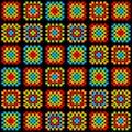 Colorful granny square crochet blanket ornament on black, vector