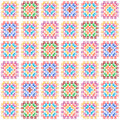 Colorful granny square crochet blanket seamless pattern on white, vector