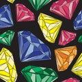 Colorful Graphic Diamond Design on Black Background. Seamless Pattern