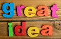 Colorful great idea word Royalty Free Stock Photo