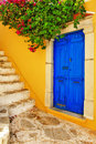 Colorful greece series symi island streets dodecanes Stock Photos