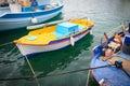 Colorful Greek fishing boats Royalty Free Stock Photo