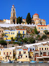 Colorful Greek Island Village Royalty Free Stock Photos
